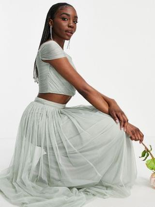 WOMEN Anaya With Love Tall Bridesmaid tulle off the shoulder crop top set in sage