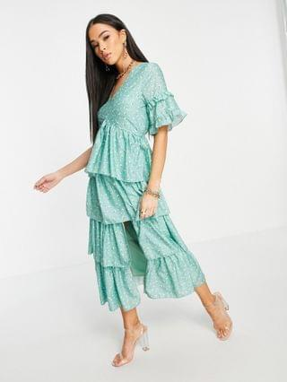 WOMEN In The Style x Stacey Solomon tiered ruffle midi dress in green floral print