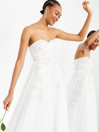 WOMEN EDITION Matilda bandeau wedding dress with full skirt and floral embroidery