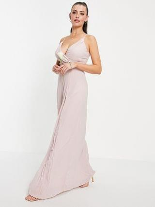 WOMEN TFNC bridesmaid pleated wrap front cami maxi dress in mink