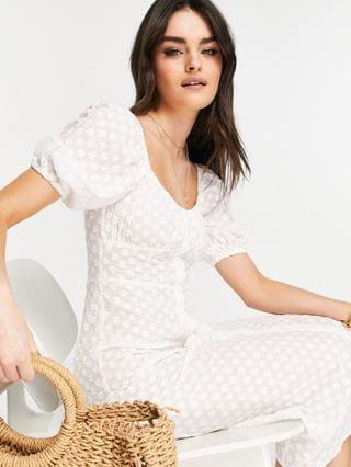 WOMEN Fashion Union eyelet beach dress with button detail in white - part of a set
