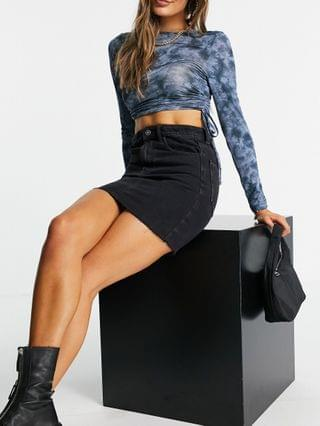 WOMEN ASYOU classic denim mini skirt in washed black
