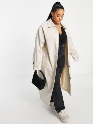WOMEN Curve longline trench coat in stone