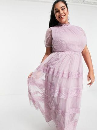 WOMEN Anaya With Love Plus high neck maxi dress with tiered lace and tulle skirt in lilac