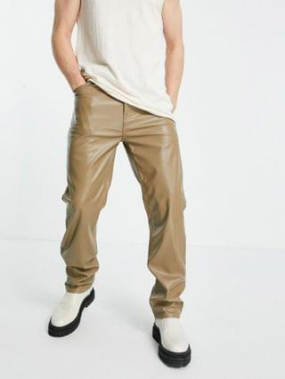 MEN dad jeans in light brown leather look