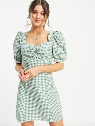 WOMEN Nobody's Child mini tea dress with puff sleeves in green gingham