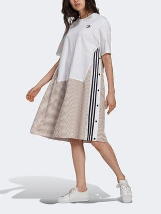 WOMEN adidas Originals x Dry Clean Only jersey t-shirt dress with pinstipe twill in white
