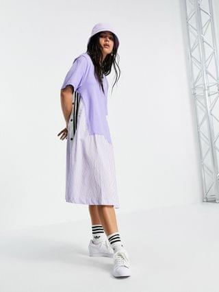 WOMEN adidas Originals x Dry Clean Only jersey t-shirt dress with pinstipe twill in lilac