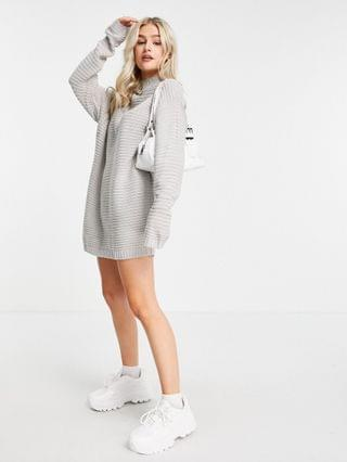 WOMEN Missguided Petite knitted sweater dress in gray