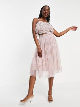 WOMEN Maya Tall tulle midi skirt with slit in frosted pink - part of a set