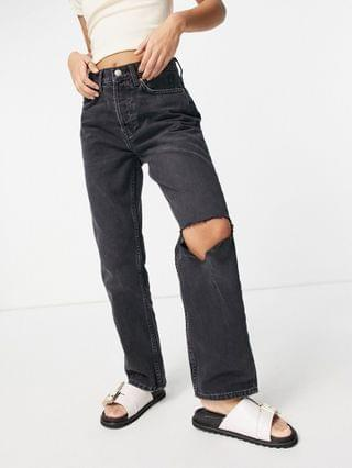 WOMEN Tosphop Petite washed ripped Dad jeans in black