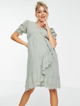 WOMEN Maternity wrap mini dress with broderie trim in self check in sage green
