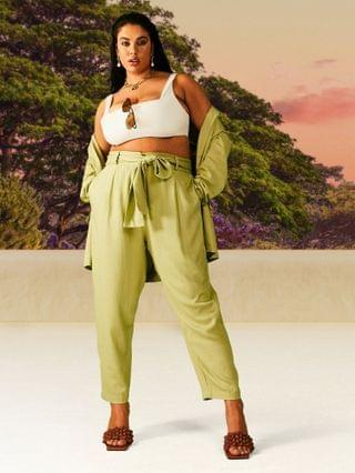 WOMEN Curve washed tapered linen suit pants in green