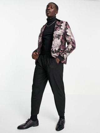 Twisted Tailor suit jacket with contrast lapel in black and pink floral jaquard
