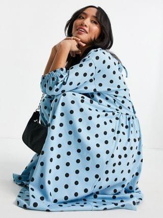 WOMEN Petite midi smock dress with wrap top in blue and black spot