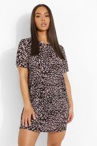 WOMEN Leopard Print Short Sleeve T Shirt Dress