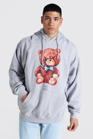 MEN Oversized Man Collection Teddy Graphic Hoodie