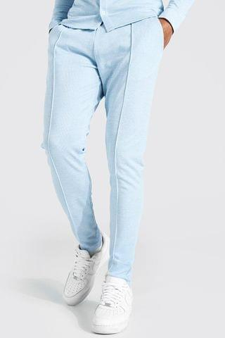 MEN Skinny Check Jacquard Trousers With Pintuck