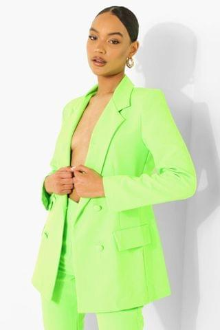 WOMEN Neon Double Breasted Tailored Blazer