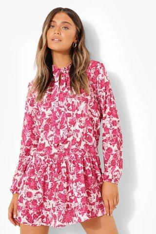 WOMEN Floral Pussy Bow Smock Dress