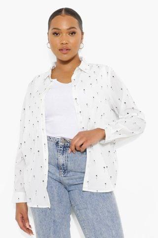 WOMEN Plus Falling Star Woven Oversized Shirt