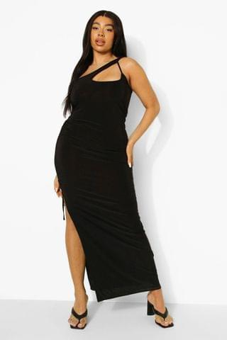 WOMEN Plus One Shoulder Ruched Side Maxi Dress