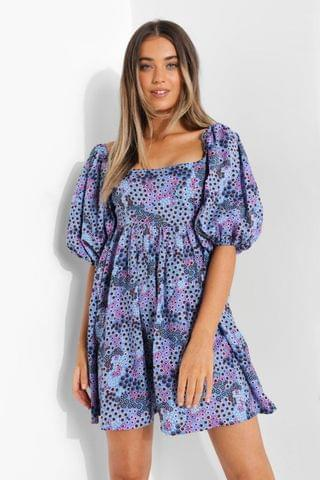 WOMEN Ditsy Floral Square Neck Baby Doll Dress