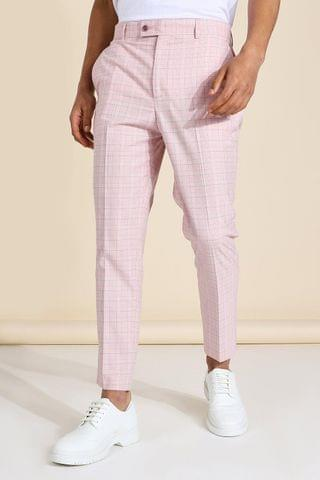 MEN Tapered Crop Check Tailored Trouser