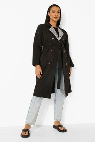 WOMEN Check Collar Belted Trench Coat
