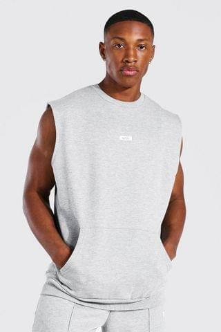 MEN Woven Tab Sleeveless Split Hem Sweater