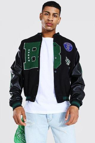 MEN B Varsity Bomber With Leather Look Sleeves