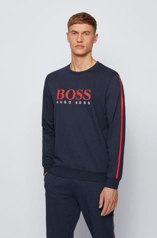 MEN French-terry sweatshirt with striped logo and contrast tape