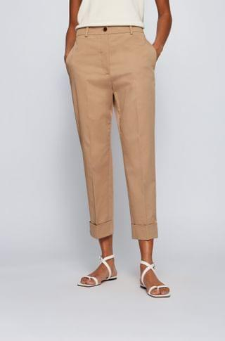 WOMEN Relaxed-fit cropped pants in organic cotton with stretch