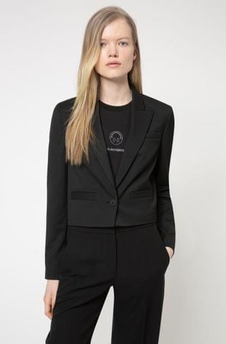 WOMEN Cropped regular-fit jacket in stretch fabric