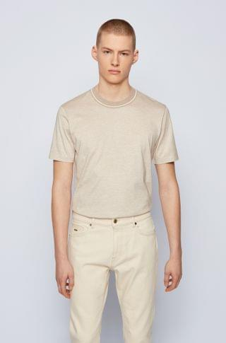MEN Regular-fit T-shirt in jacquard-knitted cotton and silk