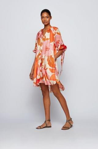 WOMEN Silk dress with all-over print and stand collar