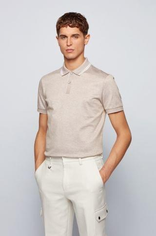 MEN Regular-fit polo shirt in mercerized cotton and hemp