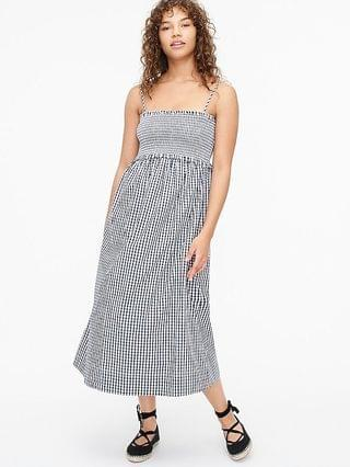 WOMEN Smocked-top cotton poplin dress in gingham