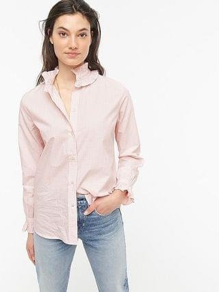 WOMEN Classic-fit ruffleneck shirt in gingham
