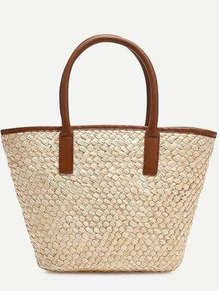 WOMEN Woven tote with leather trim