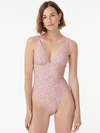 WOMEN Eco plunge V-neck one-piece in beach paisley