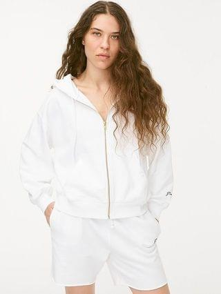 WOMEN Original cotton terry zip-up hoodie with logo embroidery