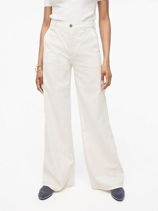 WOMEN High-rise drapey trouser jean in dusty ivory