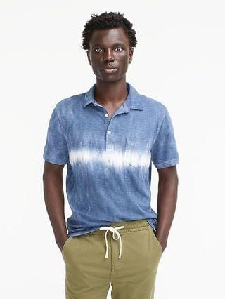 MEN Slub cotton pocket polo shirt in tie-dye