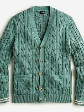 MEN Cotton tipped cuff cable-knit V-neck cardigan sweater