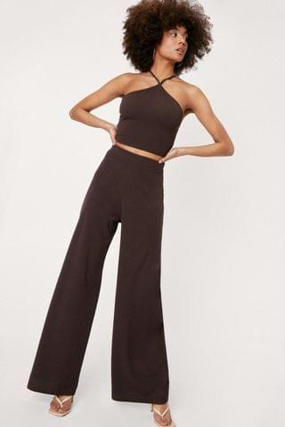 WOMEN Strappy Crop Top and Wide Leg Pants Set