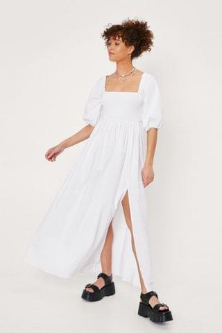 WOMEN Shirred Bust Puff Sleeve Maxi Dress