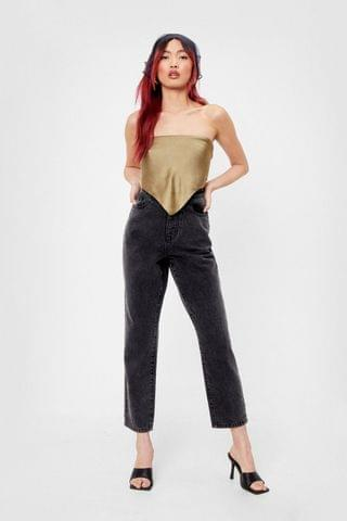 WOMEN High Waisted Tapered Cropped Mom Jeans