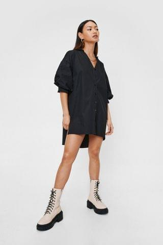 WOMEN Petite Puff Sleeve Mini Shirt Dress