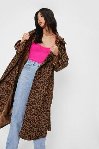 WOMEN Oversized Leopard Print Belted Trench Coat